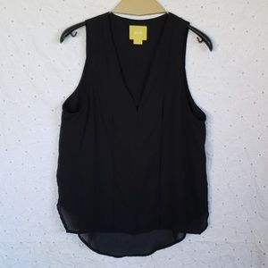 Maeve  semi sheer sleeveless black top 4